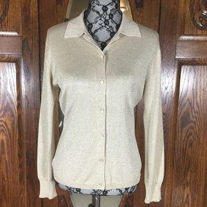 Vintage Mark, Fore & Strike Gold Sparkle Silk Blend Long Sleeve Cardigan Sweater